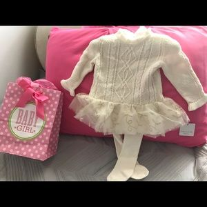 2PC Set Tahari  Baby Tan Sweater Dress with Tights
